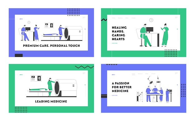 Imágenes de resonancia magnética y operación del cirujano en el conjunto de páginas de destino del sitio web del hospital. Vector Premium