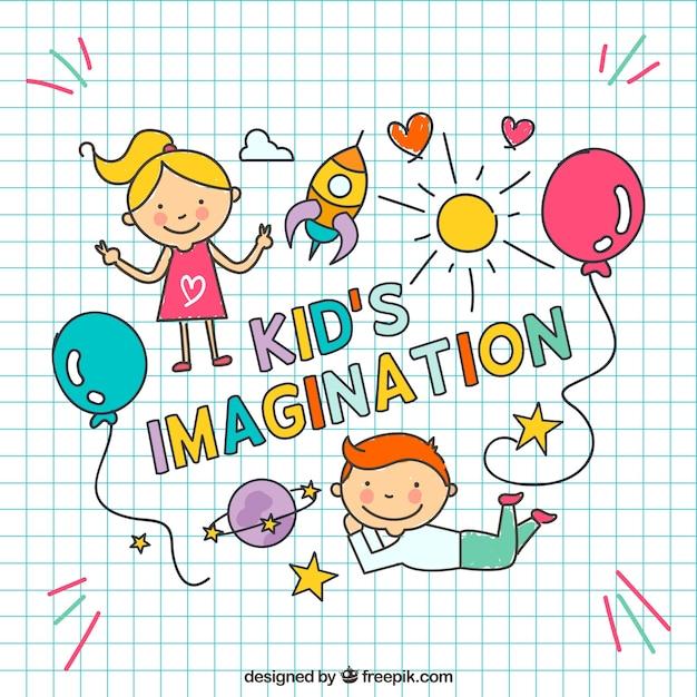 Imaginación de niños dibujada a mano Vector Premium