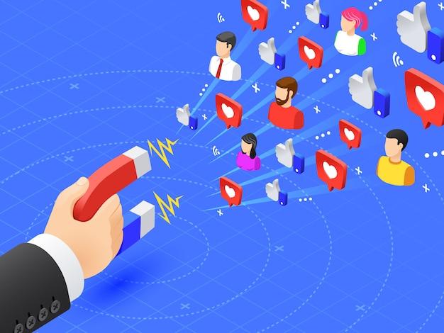 Imán de marketing que atrae seguidores. a las redes sociales les gusta y sigue el magnetismo. influencer anunciar ilustración de vector de estrategia Vector Premium