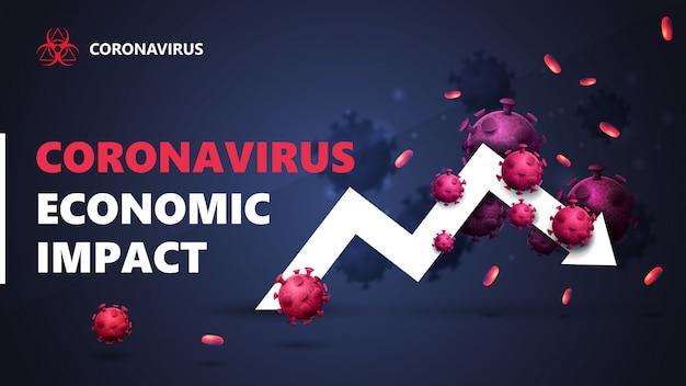 Impacto económico del coronavirus, bandera negra y azul con flecha blanca, un gráfico económico rodeado de moléculas de coronavirus. Vector Premium