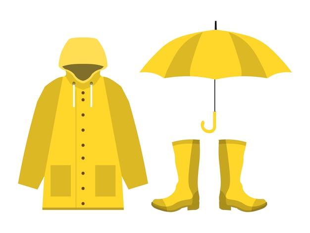 Impermeable, botas de goma, paraguas abierto, conjunto de temporada de lluvias en piso Vector Premium