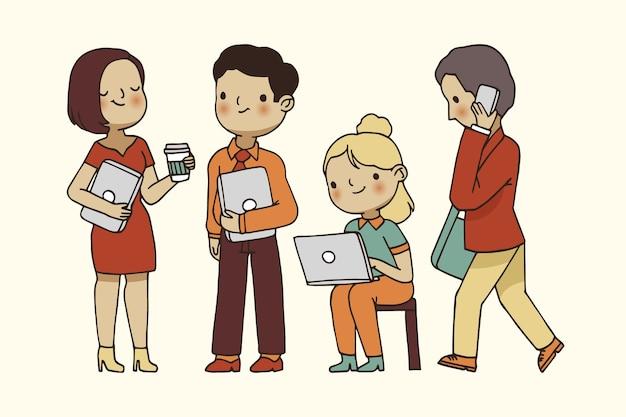 Importantes empresarios en sus trabajos vector gratuito