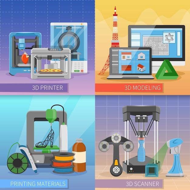 Impresión 3d 2x2 concepto de diseño. vector gratuito