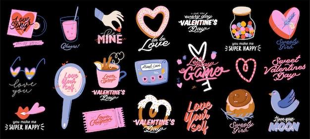 Impresión de amor hermosa con elementos del día de san valentín. elementos románticos y lindos y tipografía encantadora. vector dibujado a mano ilustraciones y letras. bueno para bodas, álbumes de recortes, logotipos, diseño de camisetas. Vector Premium