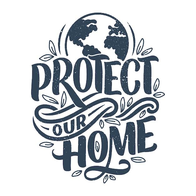 Impresión de bolsa ecológica para tela. publicidad minorista. cita de letras para el concepto de medio ambiente. Vector Premium
