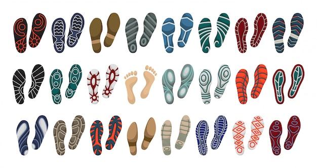 Impresión de icono de conjunto de dibujos animados de vector de zapato. impresión de ilustración vectorial de zapato único. icono conjunto aislado huella pie. Vector Premium