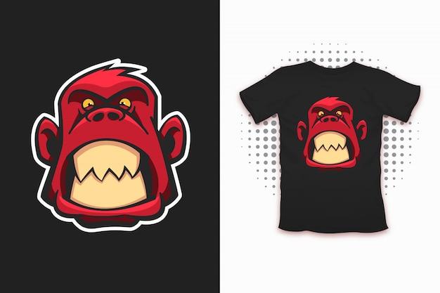 Impresión de mono enojado para diseño de camiseta. Vector Premium