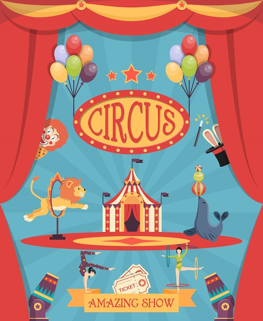 Impresionante cartel de circo vector gratuito