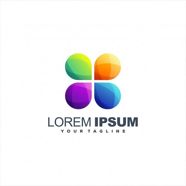 Impresionante diseño de logotipo abstracto degradado Vector Premium