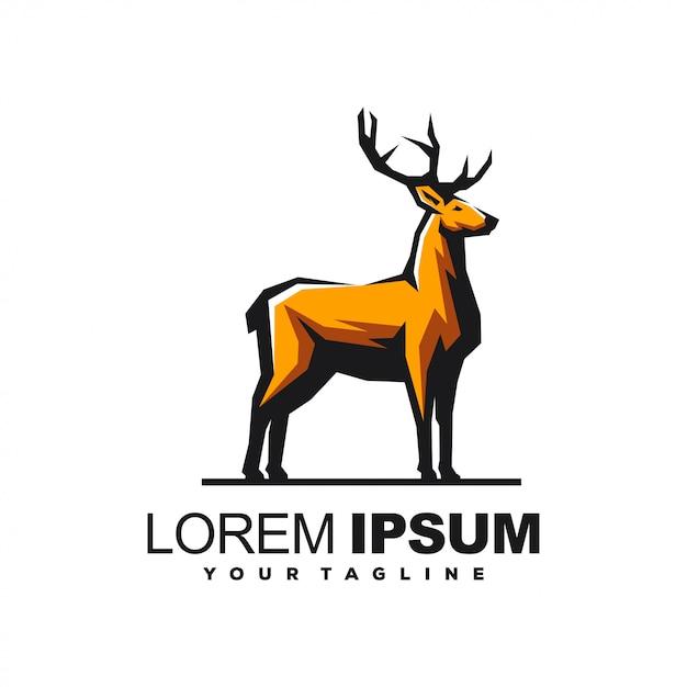 Impresionante diseño de logotipo de ciervos Vector Premium