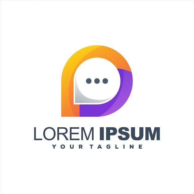 Impresionante diseño de logotipo degradado de chat Vector Premium