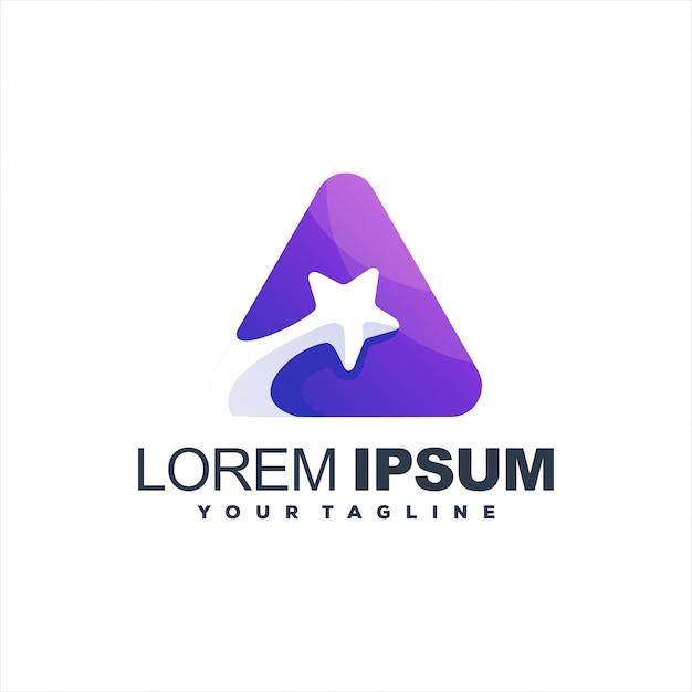 Impresionante diseño de logotipo degradado de estrella Vector Premium