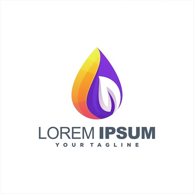 Impresionante diseño de logotipo degradado de hojas Vector Premium