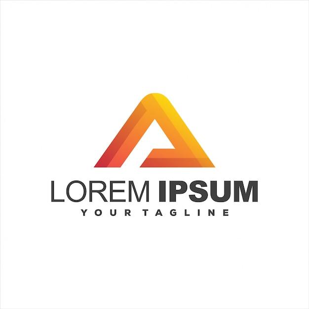 Impresionante diseño de logotipo degradado triángulo Vector Premium