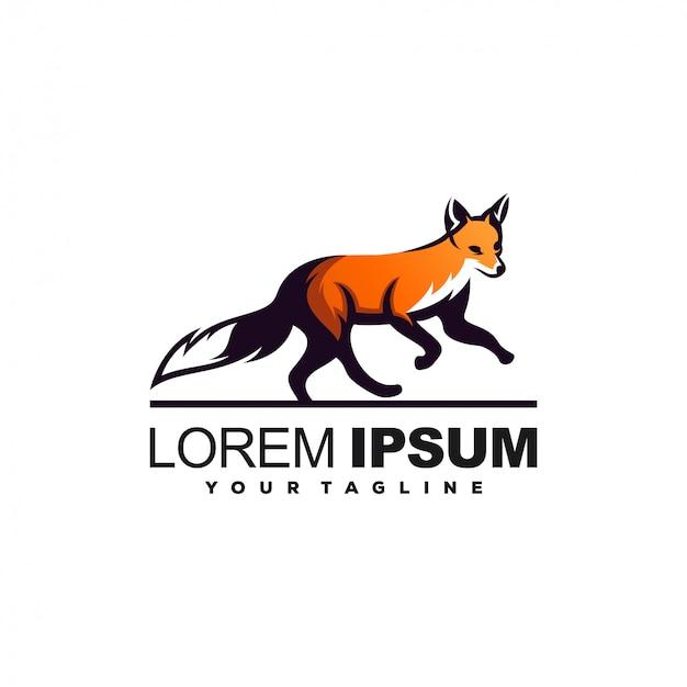 Impresionante diseño de logotipo de fox run Vector Premium