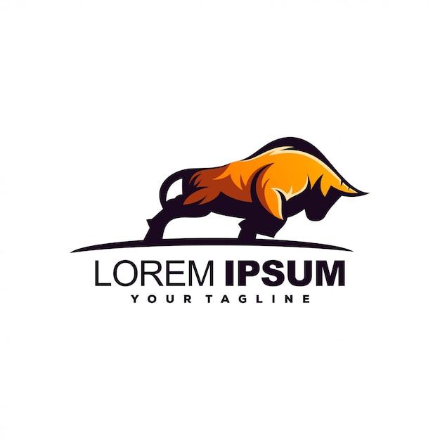 Impresionante diseño de logotipo de toro fuerte Vector Premium