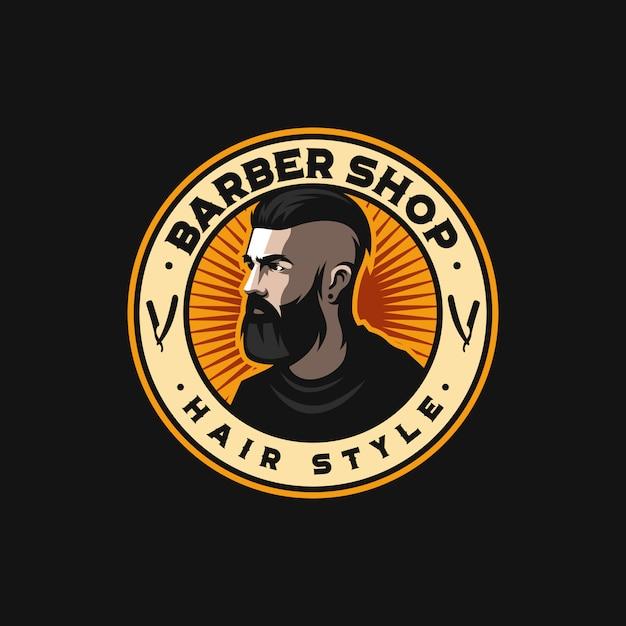 Impresionante logo de peluquero listo para usar Vector Premium