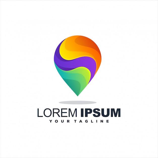 Impresionante logotipo de gradiente de pin Vector Premium
