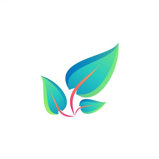 Impresionante logotipo de hoja colorida Vector Premium
