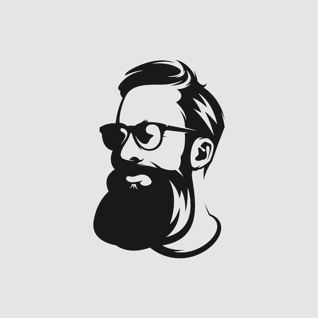 Impresionante logotipo de mascota de barba para peluquero Vector Premium