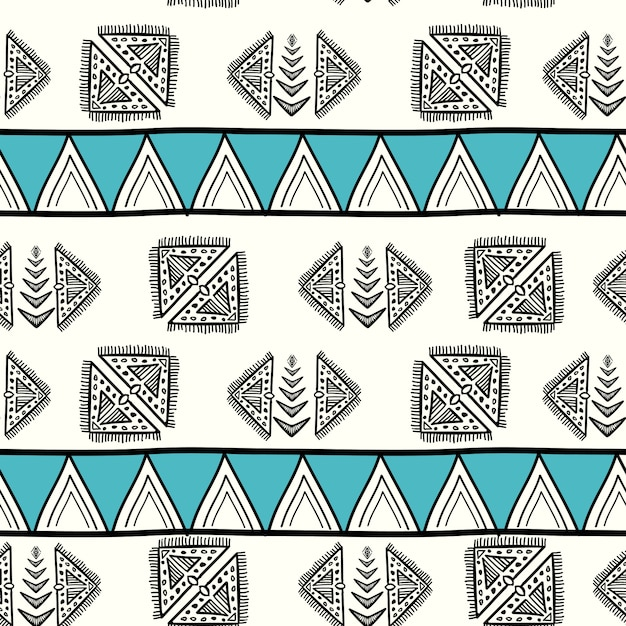 Impresionante patrón azteca con dibujado a mano creativo Vector Premium