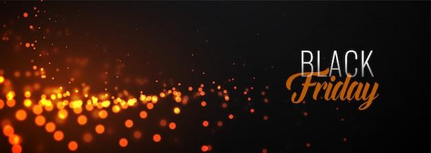 Impresionante plantilla de banner de partículas brillantes de viernes negro vector gratuito
