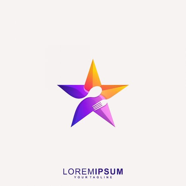 Impresionante star restaurant logo vector Vector Premium