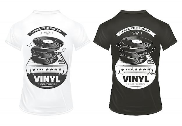 Impresiones de equipos de música retro en camisetas con inscripciones, discos de vinilo y tocadiscos en estilo vintage aislado vector gratuito