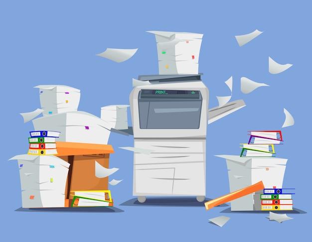 Impresora multifunción de oficina. Vector Premium