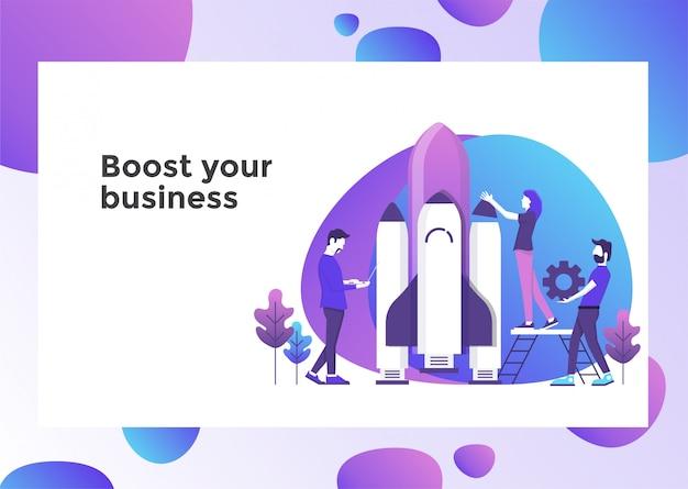 Impulsar la página de ilustración de negocios Vector Premium