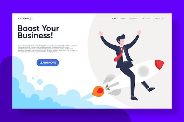 Impulse la página de destino de su negocio Vector Premium