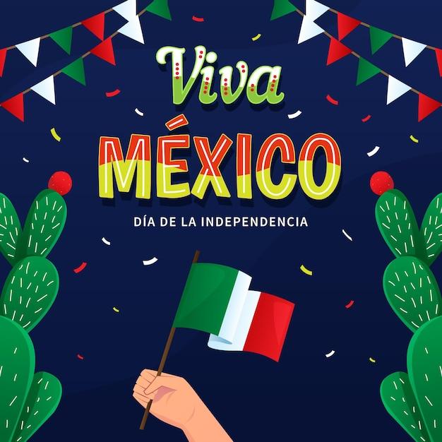 Independencia de méxico con bandera y cactus Vector Premium