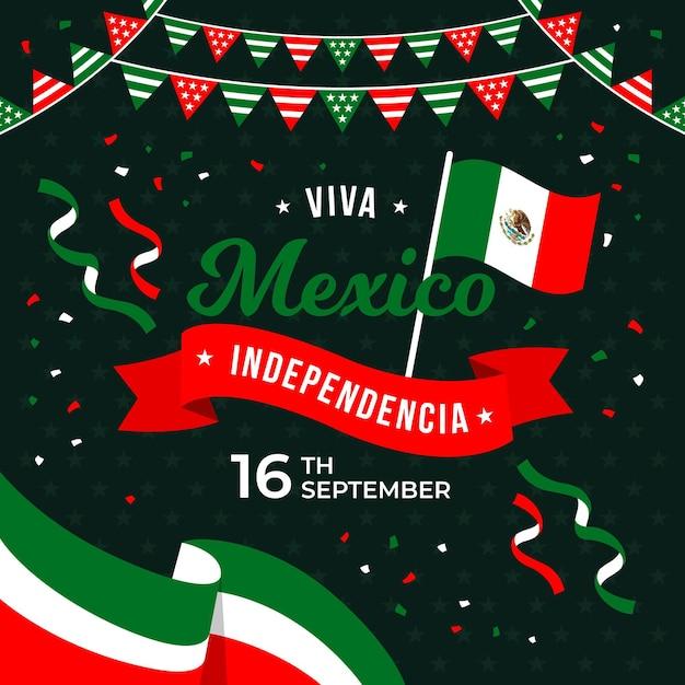 Independencia de méxico con confeti y banderas Vector Premium