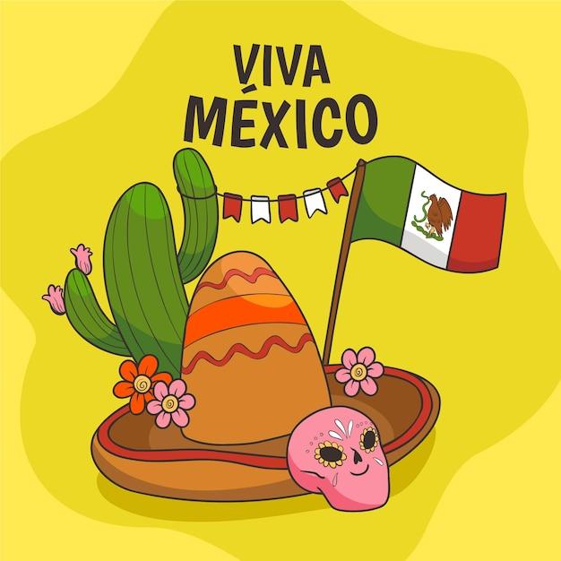 Independencia de méxico sombrero y cactus vector gratuito