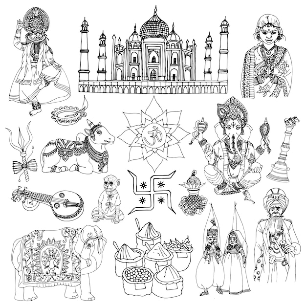 India boceto conjunto vector gratuito