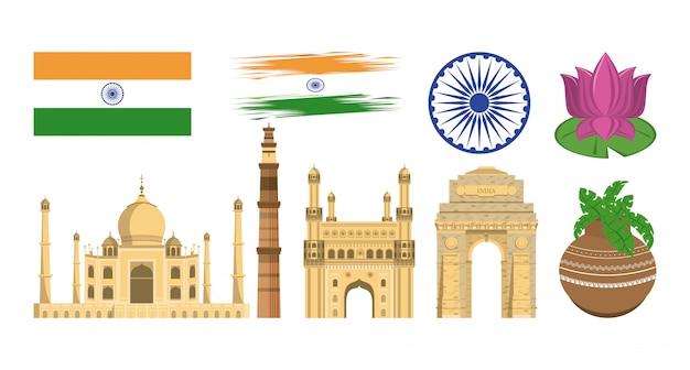 India conjunto de iconos de monumentos y emblemas vector gratuito
