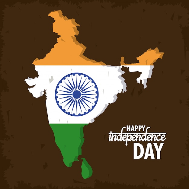 India día de la independencia tarjeta colorida vector gratuito