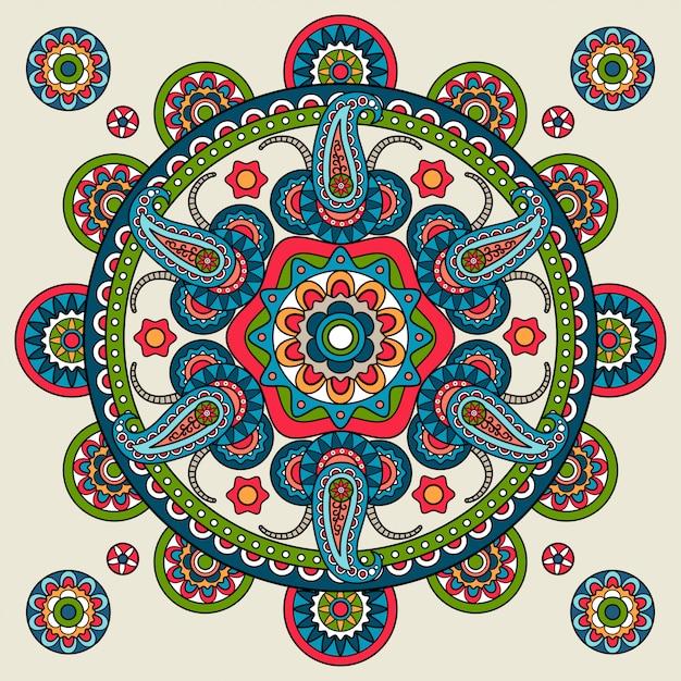India mandala de paisley dibujado a mano | Vector Premium