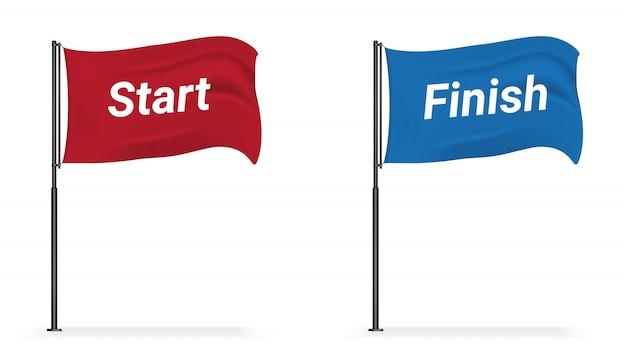 Indicador realista de inicio y acabado de la bandera para el deporte Vector Premium