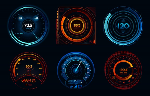Indicadores de velocímetro. medidores de potencia, etapas de medidor de velocidad de conexión a internet rápidas o lentas Vector Premium