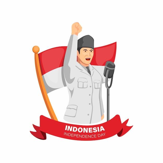Indonesia día de la independencia con la figura de bung karno, primer presidente de la proclamación del discurso de indonesia en la ilustración de dibujos animados Vector Premium