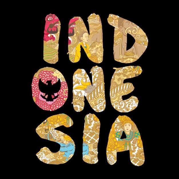 Indonesia hecha a mano ilustración de letras Vector Premium