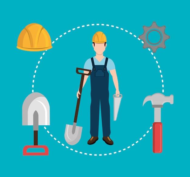 Industria de la construcción y herramientas vector gratuito