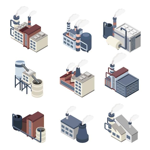 Industria de la construcción isométrica vector gratuito