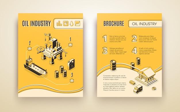 Industria del petróleo, folleto de la compañía de producción de petróleo, cubierta del informe anual vector gratuito