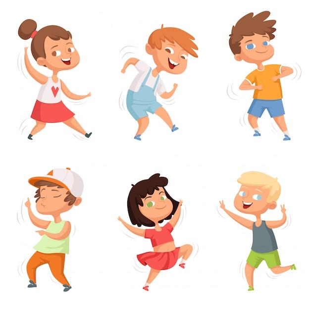 Infancia feliz, varios niños divertidos bailando Vector Premium