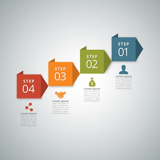 Infografía de 4 pasos vector gratuito