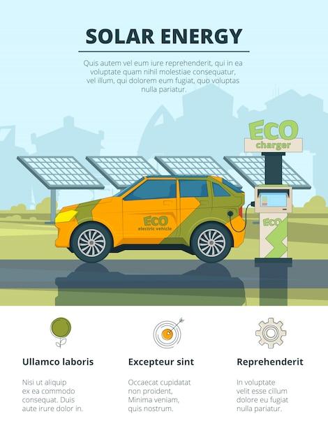 Infografía de autos eléctricos, eco conceptual con automóviles electrónicos. Vector Premium