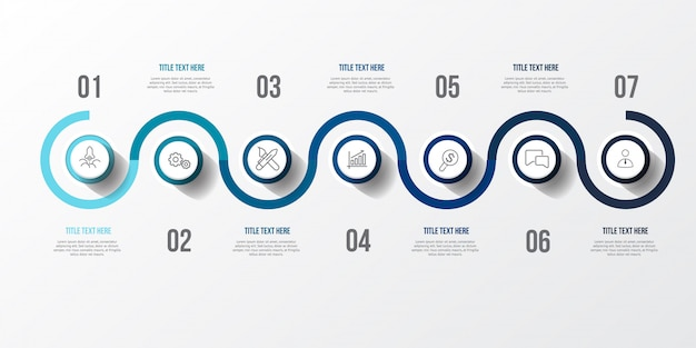 Infografía azul con mesa 3d Vector Premium