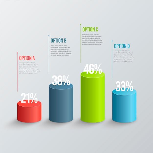 Infografía de barras 3d Vector Premium